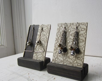 Pair Earring Displays - Gray, Black & White Design  - Reversible Recycled Vintage Book Jewelry Display - Ready to Ship