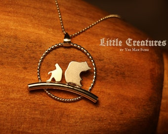Sterling Silver Handmade Boy With Bear Pendant Necklace