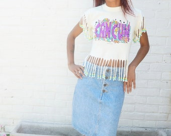 Cancun T Shirt Vintage 1970s 1980s Crop Beaded Top