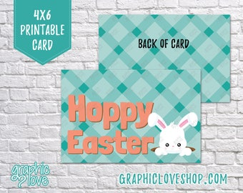 Printable Cute Bunny Hoppy Easter 4x6 Card - Folded & Postcard   High Res Digital JPG File, Instant Download, NOT Editable, Ready to Print