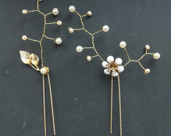 white beads and pearls wedding hairpins , set of bridal hairpins