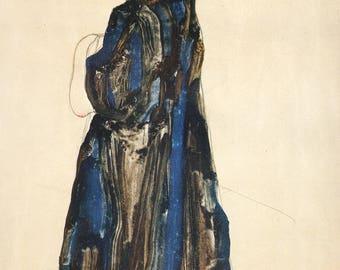 "Schiele Egon ,27, Lithograph, ""Peasant girl"" printed 1968"