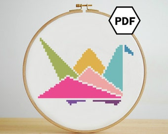 Origami Colorful Paper Crane Cross Stitch Pattern, Instant Download, PDF pattern
