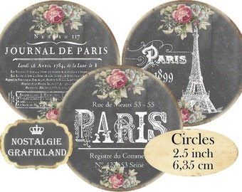Chalkboard Paris French Eiffel Tower Circles 2.5 inch Instant Download digital collage sheet C169