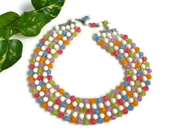 Vintage Bead Necklace Multi Strand Mixed Pastel Color Signed Germany Unique Mod Summer Fashion Jewelry