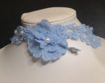 Blue lace wedding necklace for the bride