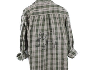Vintage Adult Elephant Hipster Flannel Shirt // Size MEDIUM // Only One - Ready to Ship