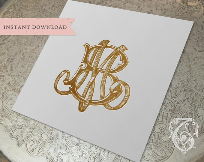 Vintage Wedding Monogram MB BM Digital Download M B