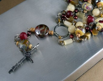 CUSTOM Rosary - Handcrafted One of a Kind Heirloom Cross Necklace
