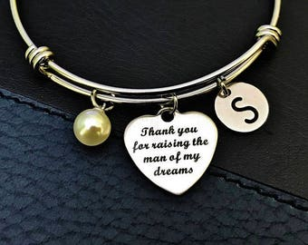 Thank You For Raising The Man Of My Dreams, Mother in Law Bangle, Mother of the groom, gift from bride, gifts for Mother in law