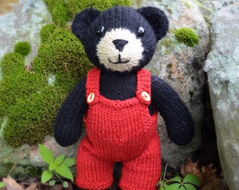 Hand Knit Black Bear/ Plush Toy/ Stuffed Animal/ / Christmas