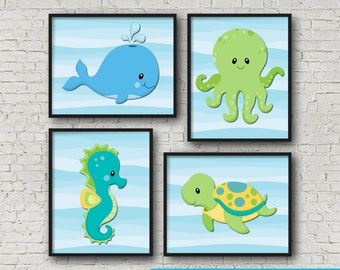 "Under The Sea Creature Wall Art Poster Print 8x10"" Instant Download"