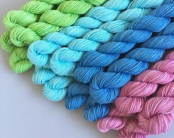 Mini Skeins - hand-dyed Australian Super Cotton fingering 4ply 20g each