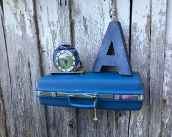 Vintage Bright Blue Samsonite 1970's Era Upcycled Suitcase Repurposed into Wall Shelf
