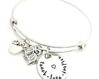 Teach, Love, Inspire - Teacher Bracelet - End of the Year Gift - Instructor Appreciation - Apple, Book, Heart - Expandable Bangle Bracelet