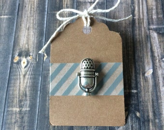 Retro Microphone Lapel Pin / Tie Tack - Antique Silver Tone - Mic - Singer Gift - Vintage Style
