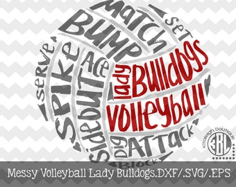 Messy Lady Bulldog Volleyball design INSTANT DOWNLOAD in dxf/svg/eps for use with programs such as Silhouette Studio and Cricut Design Space