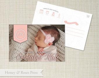 Baby Birth Announcement . Girl Baby Announcement . Post Card Birth Announcement  .  Digital File . Photo Birth Announcement