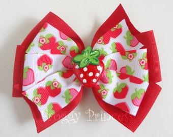 Strawberry Bow - Double Pinwheel - No Slip Velvet Grip Hair Clip