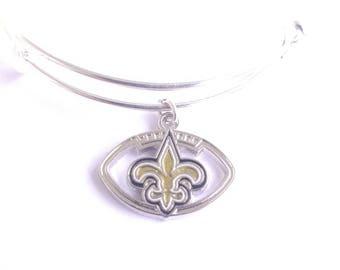 New Orleans Saints football team charm bangle bracelet