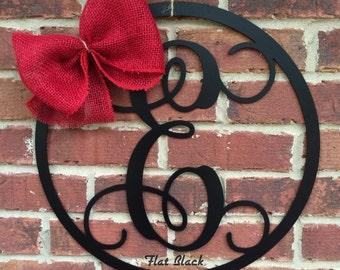 "22"" METAL MONOGRAM LETTER with circle border; wreath, door/wall hanging/initial"