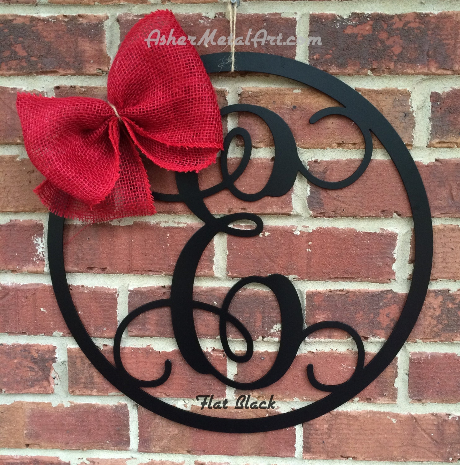 Metal Monogram Letters 18 Metal Monogram Letter With Circle Border Wreath