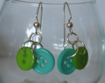 Summer Tropical Lime Green and Aqua Tiny Button Earrings