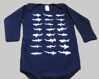 Long Sleeve Shark Baby Bodysuit Navy Blue