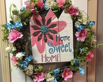 Home Sweet Home, Home Sweet Home Sign, Home Sweet Home Wreath, Front Door Wreaths, Summer Wreath, Door Wreath Summer, Floral Wreath