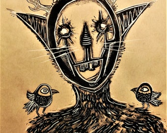 """Original painting. Monsters. """"Springtime for Mr. Catbeast"""". Black and white ink on brown paper (9x12)"""