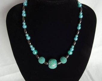 Aqua green necklace & matching bracelet (optional), magnetic clasp on necklace, UK shop