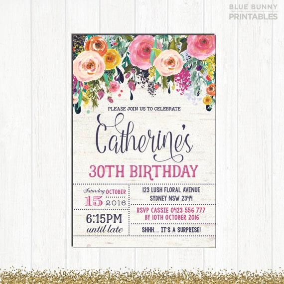 30th birthday invitation adult woman floral invitation rustic filmwisefo