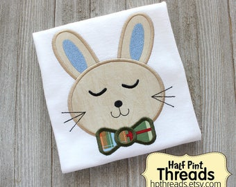 Boy Easter Bunny With Bow Tie Embroidered Shirt or Bodysuit, Bunny Easter Shirt, First Easter Shirt, Boy Easter Shirt, Bunny Shirt