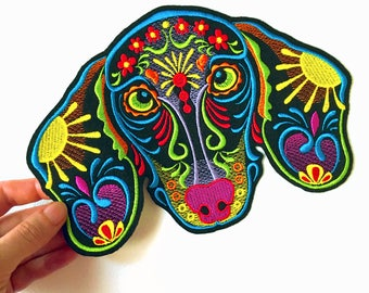 Dachshund Sugar Skull Patch Embroidery / Day of the Dead/ Calavera Dog