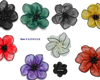 Organza Floral Embellishment and Accessory Great for Hair and Handbag or a Hat!