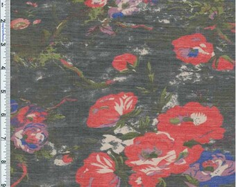 Black Wandering Bouquet Floral Novelty Chiffon, Fabric By The Yard