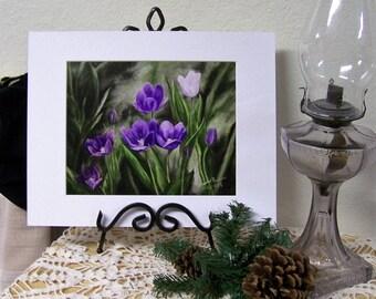 Tulips Art Print, Purple Floral Art Print 8inx10in