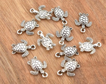 Antique silver turtles charms 16x12.5mm in packs of 5/10/15/20 units