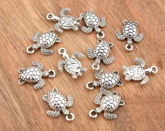 Breloques tortues argent vieilli 16x12.5mm Par lot de 5/10/15/20 unités