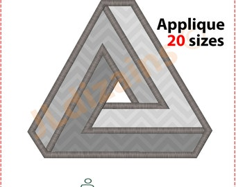 Penrose Triangle Applique Design. Penrose embroidery. Impossible triangle applique. Impossible object embroidery. Machine embroidery design
