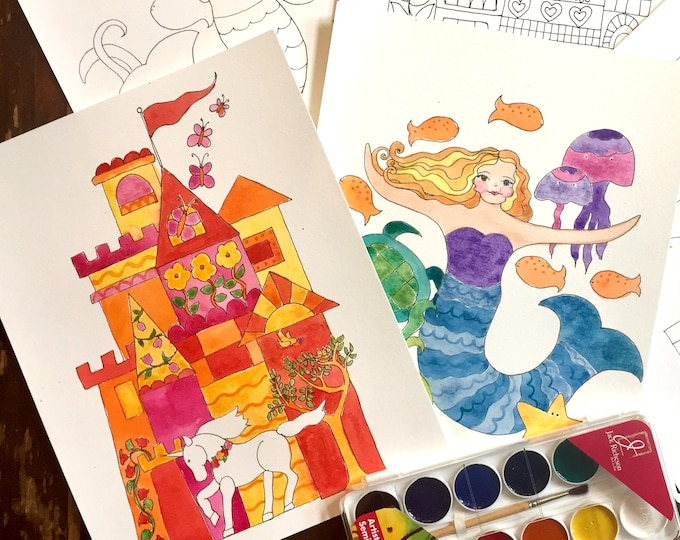 WATERCOLOR Painting Kit - Mermaids, Castles, and Unicorns