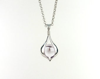 """925 Sterling Silver Pendant Necklace with undrilled Clear Quartz Sphere: """"Cradle"""""""