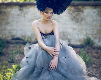 SALE Winged Rose 'Cygnus' Large Couture Statement Headdress