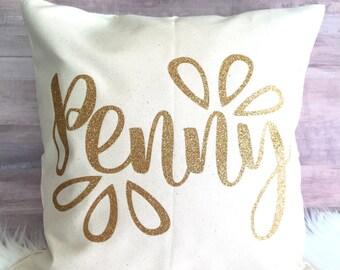 Custom Name Pillow Cover // Nursery Decor, Kids room decor, pillow cover, decorative pillow, pillowcase, glitter pillow