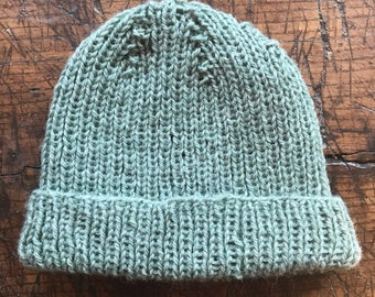 Slouchy Turquoise  Knit Wool Hat