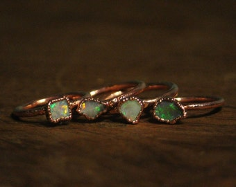 Raw Opal Ring // Copper Electroformed Jewelry
