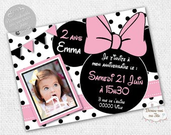"Customizable ""Minnie white"" - printable personalized Invitation birthday invitation"