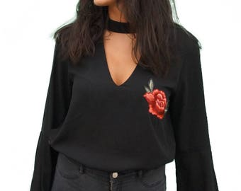 LIVE4TRUTH Black Embroidered V Neck Shirt