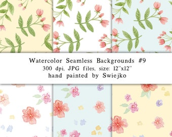Watercolor Paper, Seamless Paper,  6 Digital Scrapbooking Papers, Hand Painted, Flowers(9)