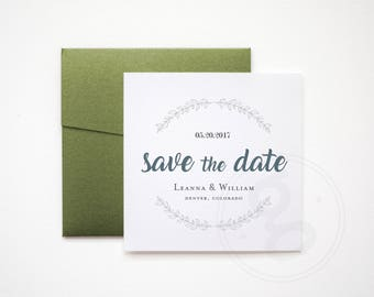 Save the Date, Minimal, Elegant Square Announcement, Printable Custom Design